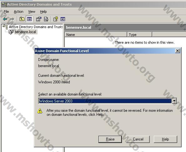 windows server domain admin how to raise the trust level