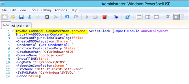 Windows Server 2012'de PowerShell-ISE ile Additional DC Kurulumu