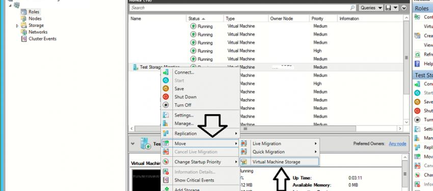 Hyper-V Failover Cluster – Virtual Machine Storage Taşıma İşlemi