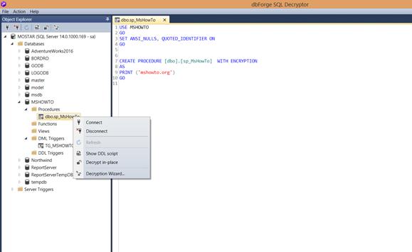 SQL Server'da Encryption Olan Nesneleri Açmak