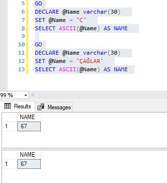 SQL Server'da String İşlemleri