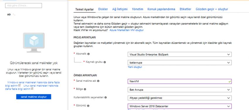 Azure Portal Güncellemeleri – Sanal Makine Oluşturma Tasarım Değişikliği