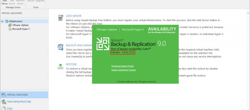 Veeam Backup & Replication v9.0'dan v9.5 Update 4 Upgrade