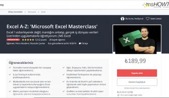 Udemy – Ücretsiz Microsoft Excel Masterclass Eğitimi