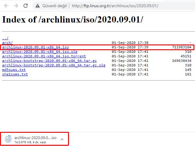 Arch Linux ISO Dosyasını İndirme