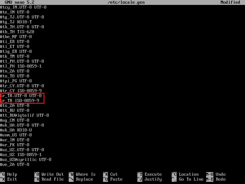 Arch Linux Yerelleştirme Ayarlarının Yapılması
