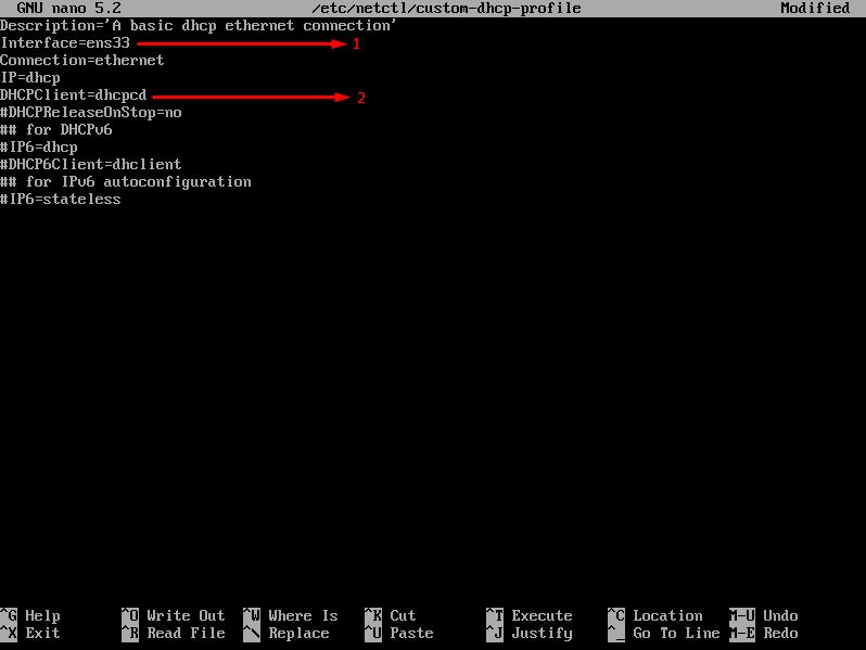 arch linuxta netctl yapılandırma dosyasının düzenlenmesi