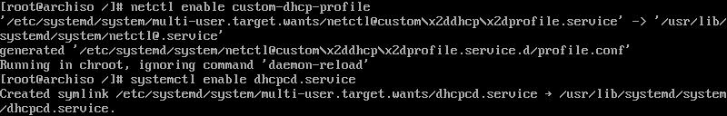 arch linuxta ilgili profil ve dhcpcd servisinin aktifleştirilmesi